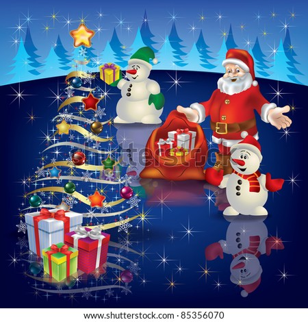 Abstract Christmas greeting with Santa and tree
