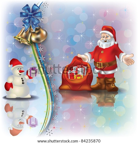 Abstract Christmas greeting with Santa Claus snowman and gifts