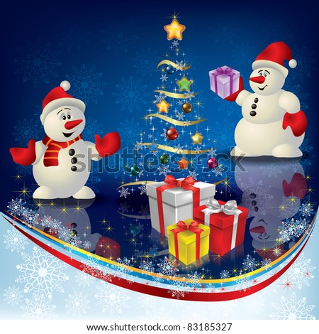 Abstract Christmas greeting with snowmans and gifts on blue
