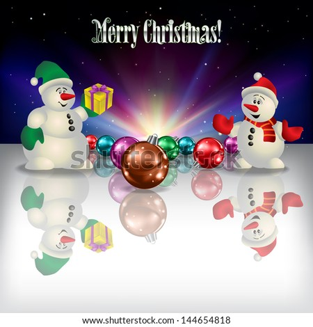 Abstract Christmas greeting with snowmen gifts and decorations