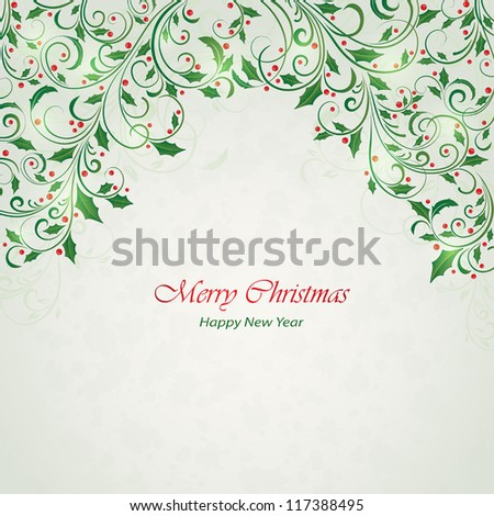 Abstract Christmas ornament with holly, Illustration.