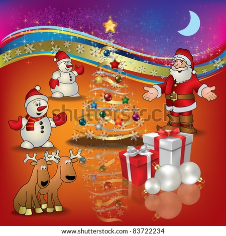 Abstract Christmas red greeting with Santa deer snowmen and gifts - stock vector