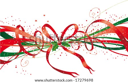 Abstract christmas ribbon with stars, bow and holly