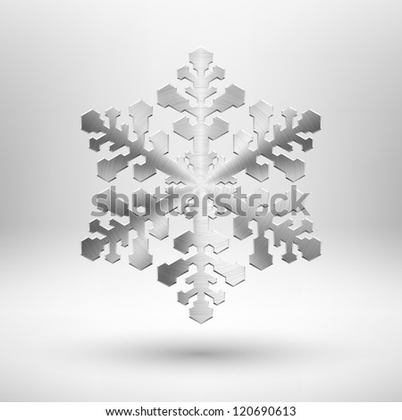 Abstract Christmas snowflake icon with metal texture (chrome, stainless steel, silver), shadow and light background for internet sites, web user interfaces (ui) and applications (app). Winter holidays