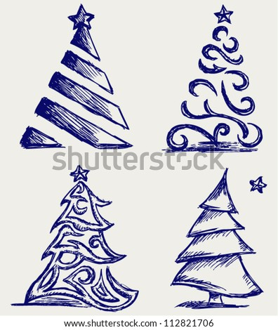 Abstract Christmas tree and star