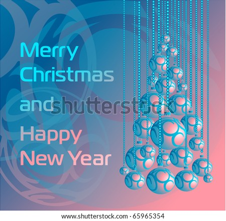 Abstract Christmas tree from beautiful xmas balls - Merry Christmas and Happy New Year. Blue-pink background in pastel tones. Xmas bells hanging on pearl beads. Vector illustration, eps10