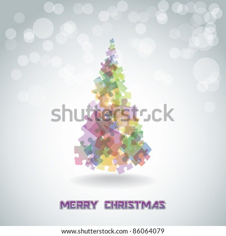 Abstract christmas tree from the pieces of puzzle - illustration