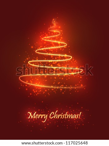 Abstract Christmas tree made of sparkles and lights. EPS10 vector greeting card.