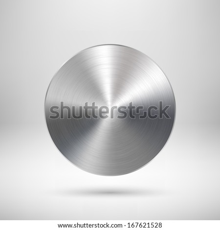 Abstract circle badge, blank button template with metal texture (chrome, silver, steel), realistic shadow and light background for web user interfaces, UI, applications and apps. Vector illustration.