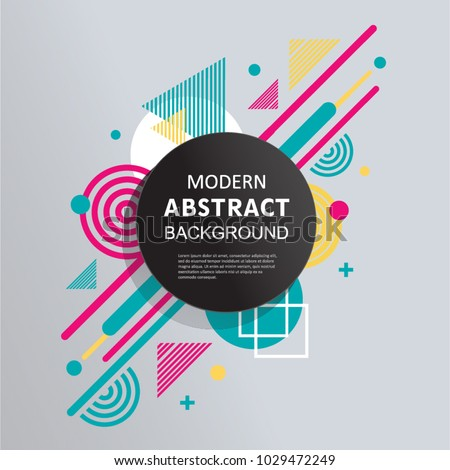 Abstract circle badge geometric pattern design and background with square badge. Use for modern design, decorated, flyer,  template and cover. #1029472249