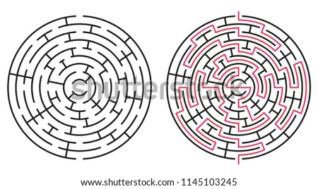 Abstract circle maze / labyrinth with entry and exit. Vector labyrinth 237.