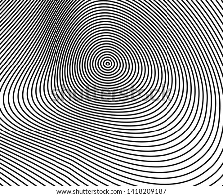Abstract circle pattern black and white color ring. Abstract  vector illustration for sound wave, Monochrome graphic.