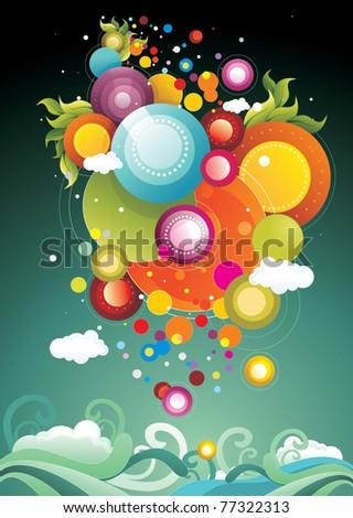 abstract circles glossy vector