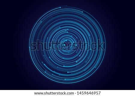 Abstract circular galaxy motion, orbit effect illustration. Cyber security concept digital  design. Vortex vector whirlpool motion of fiber lines. Blue galaxy orbit graphics.