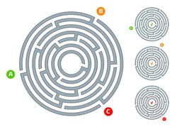 Abstract circular maze labyrinth with an entry and an exit A flat illustration on a white background A puzzle for logical thinking finding an exit solving in a game form Isolated Vector graphics
