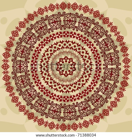 abstract circular pattern of arabesques
