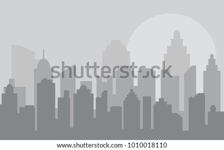 Abstract city building skyline. Buildings silhouette. Urban Landscape. Cityscape background in flat style. Modern city landscape.