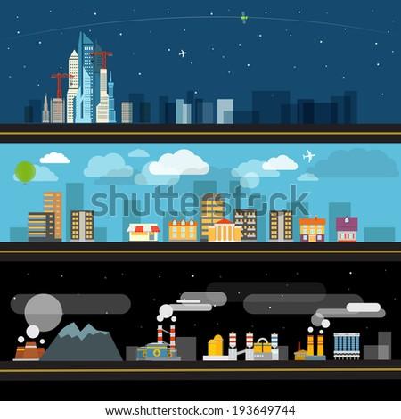 Abstract city map illustration set Ftat design