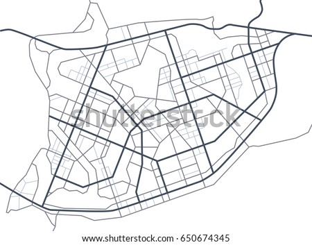 Abstract city map. Line scheme of roads. Town streets on the plan. Urban environment, architectural background. Vector