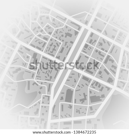 Abstract city map. Print with town topography. City residential district scheme. Vector illustration #1384672235