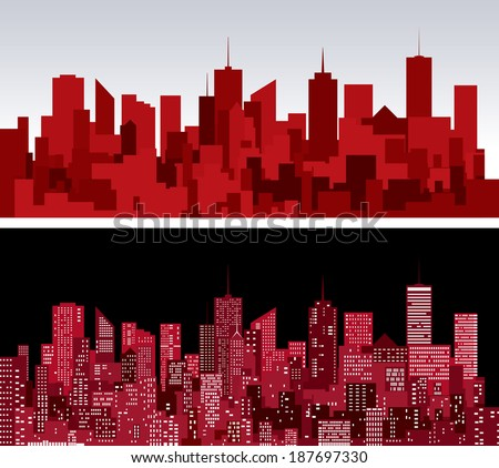 abstract city skylines in two