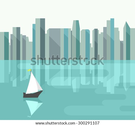 abstract city with reflection