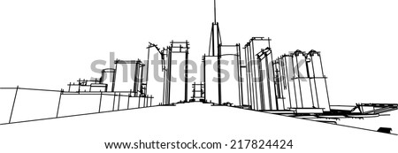 abstract cityscape sketch