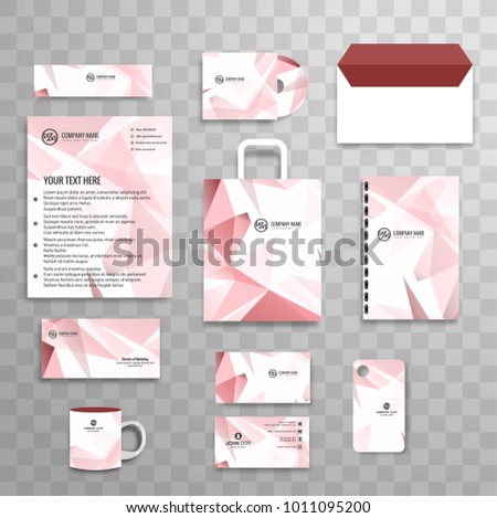 Abstract classic corporate identity business stationery template set with polygon #1011095200