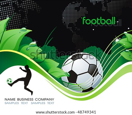 Abstract Classical football poster with ball on field. Vector background with Place for your text. Beautiful illustration.