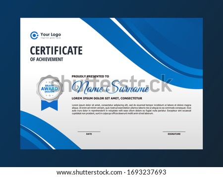 Abstract Clean Blue Wave Certificate Design, Professional Modern Certificate Template Vector