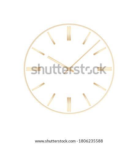 Abstract clock face. Clock face concept. Gold clock face. Mockup clock face. Vector illustration