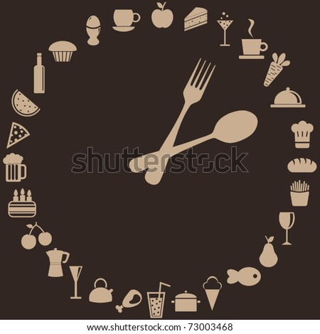 abstract clock made of spoon, fork and food