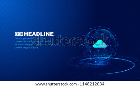 Abstract cloud data, point - line connection, scientific and technological innovation concept vector background