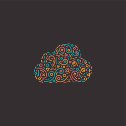 Abstract Cloud design template in line style