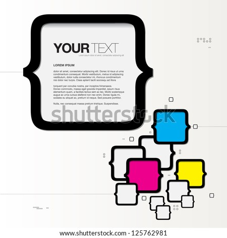 Abstract CMYK text box design vector background