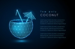Abstract  coconut drink.  Low poly style design.