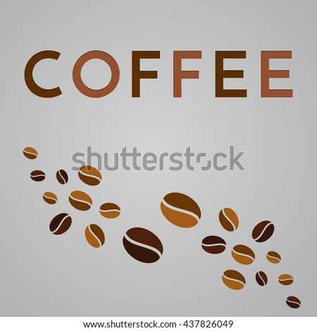 Abstract coffee background. Vector template elements. Grains sign.