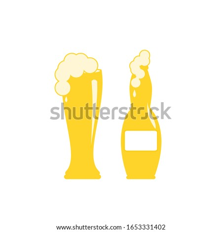 Abstract Cold Beer And Froth In The Bottle And Big Glass Vector On White Background