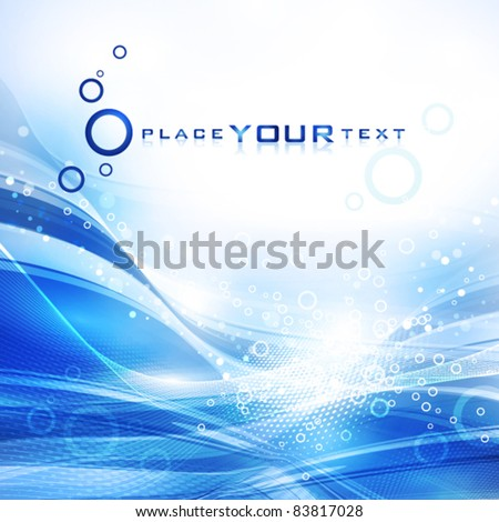 Abstract cold water with lots of bubbles. Vector