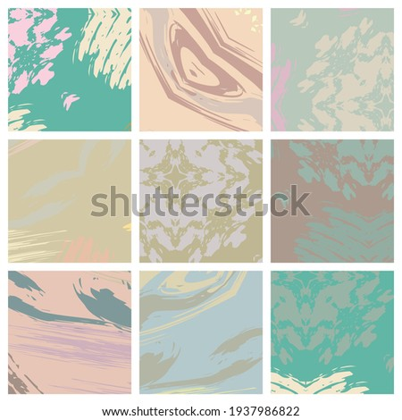 Abstract collage asymmetric pattern. Brush strokes grunge texture. Vector colorful ornament, patchwork quilt style. Digital freehand art backgrounds set for flyer, poster, cover, textile fabric print