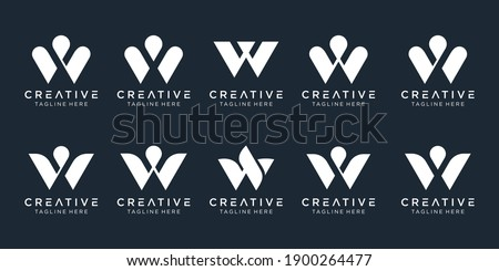 abstract Collection initials W logo template. icons for business of fashion, sport, simple. Zdjęcia stock ©