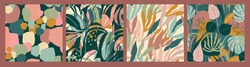 Abstract collection of seamless patterns with leaves and geometric shapes. Modern design for paper, cover, fabric, interior decor and other users.