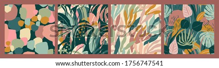 Abstract collection of seamless patterns with leaves and geometric shapes. Modern design for paper, cover, fabric, interior decor and other users. Stock photo ©