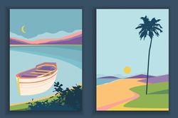 Abstract coloful landscape poster collection. Set of contemporary art print templates. Nature backgrounds for your social media. Sun and moon, sea, mountains, ocean, river, palms, tree, boat.