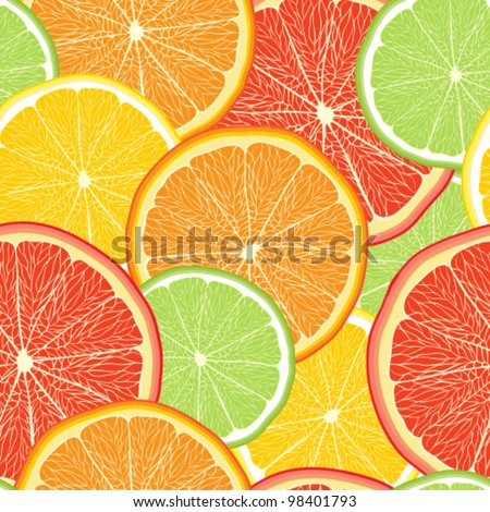 Abstract color background with citrus-fruit of grapefruit, orang - stock vector
