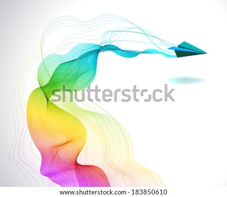 Abstract color background with paper air plane and wave for design, VECTOR