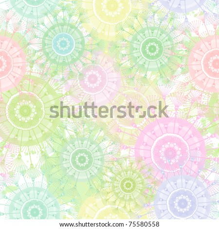 Abstract color dandelion seamless pattern