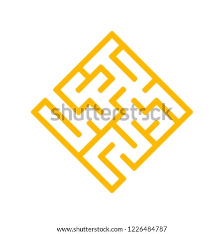 Abstract color labyrinth in the form of a diamond. Game for kids. Puzzle for children. One entrance, one exit. Labyrinth conundrum. Flat vector illustration