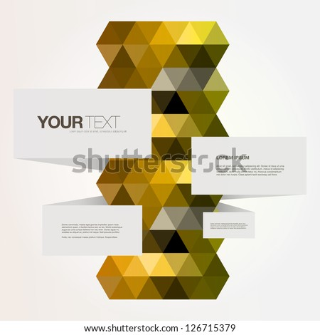 Abstract color triangles design vector text box
