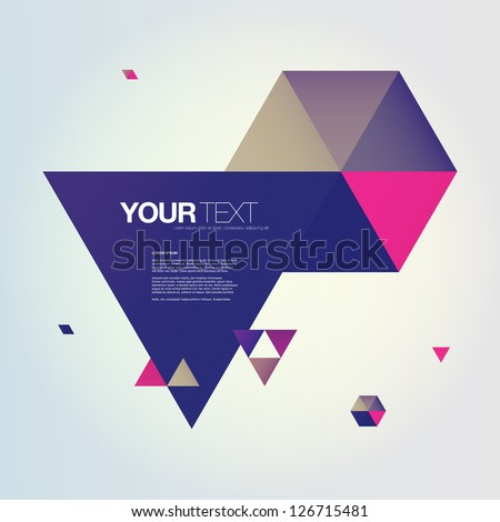 Abstract color triangles text box design vector
